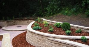 Completed Brick Patio with Retaining Wall Landscape Plant Beds