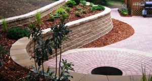 Completed Plant Bedding Landscaping on a Multi-Level Retaining Wall
