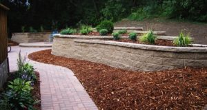 Completed Patterned Brick Walkway with Block Retaining Wall with Mulch & Plant Bedding