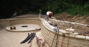Brick Patio & Block Retaining Wall Installation