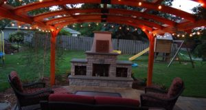Outdoor Living Space with Fireplace and Pergola
