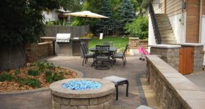Outdoor Kitchen with Fire and Ice Fire Pit in Edina, MN