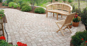 Brick Paver Patio with Circle Inlay in Orono, MN