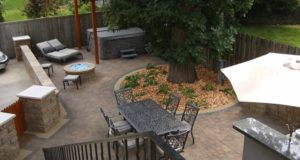 Top View of Brick Paver Patio with Landscaping in Edina, MN