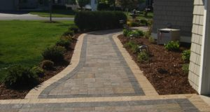 Brick paver sidewalk with alternated colored solider course, Maple Grove, MN