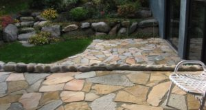 Overall Perspective of Natural Stone Patio with Plantings in Bloomington, MN