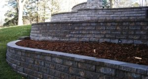 Tiered retaining walls with freestanding wall in Afton, MN