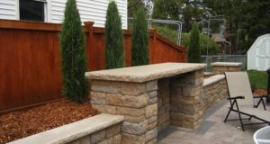 Travertine retain wall and steps, Mendota Heights, MN
