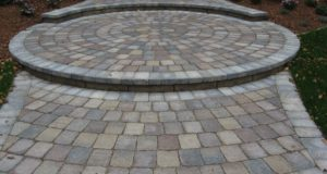 Close up shot of front brick paver entry