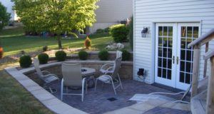 Two tiered retaining wall and steps in Plymouth, MN