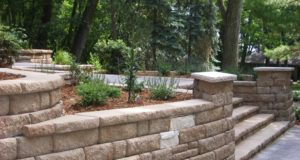 Another perspective of retaining wall with plantings