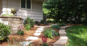Flagstone pathway through garden space