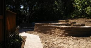 New Brick Walkway & Block Retaining Wall