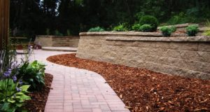 Completed Brick Walkway with Retaining Wall and Mulch & Plant Landscaping