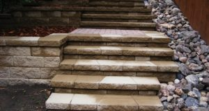 Completed Block Steps / Block Stairway with Multi-Level Retaining Wall