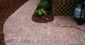 Completed Patterned Brick Walkway with Mulch Trim and Plant Bedding