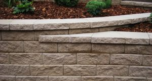 Completed Block Retaining Wall with Mulch and Plant Bedding