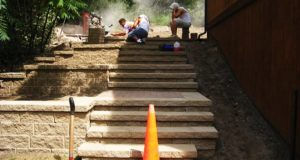 Installation of Stone Staircase with Retaining Walls