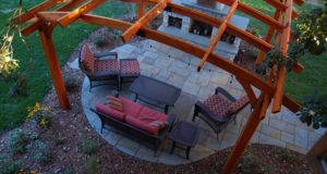 Arial View of the Outdoor Living Space with Bluestone Patio, Pergola and Outdoor Fireplace