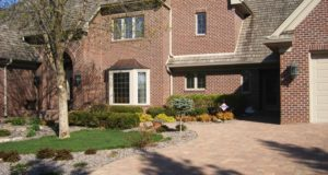 Cobblestone Brick Paver Driveway and Plantings in Minnetonka, MN