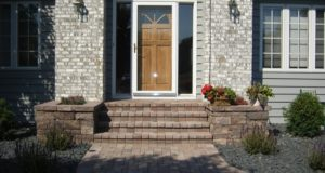 Brick Pavers Laminated on Stoop with Segmental Planters in Eden Prairie, MN