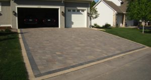 Brick paver driveway with alternate colored solider course, Maple Grove, MN