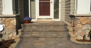 Brick paver sidewalk and step with alternate color solider course, Maple Grove, MN