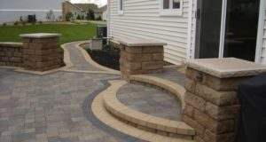 Segmental Block Steps with Pillars and Landscape Lighting