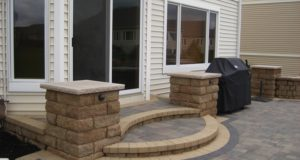 Custom modular block steps and pillars in Rosemount, MN