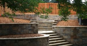 Travertine steps and retaining wall, Mendota Heights, MN