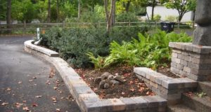 Segmental two tiered retaining wall in Minneapolis, MN