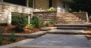 Brick paver walkway with front entry steps & plantings in Minnetonka